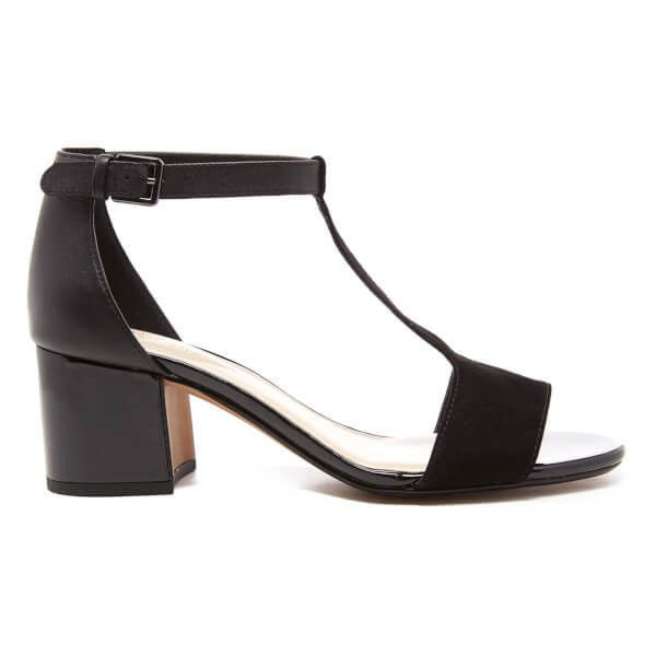 clarks black 'alto gull' patent mid wedge sandals