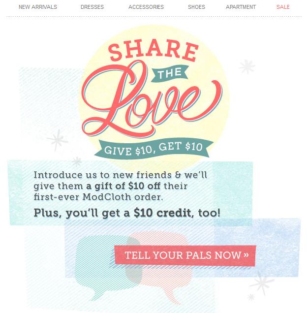 modcloth referral program email | Editorial Design | Pinterest ...