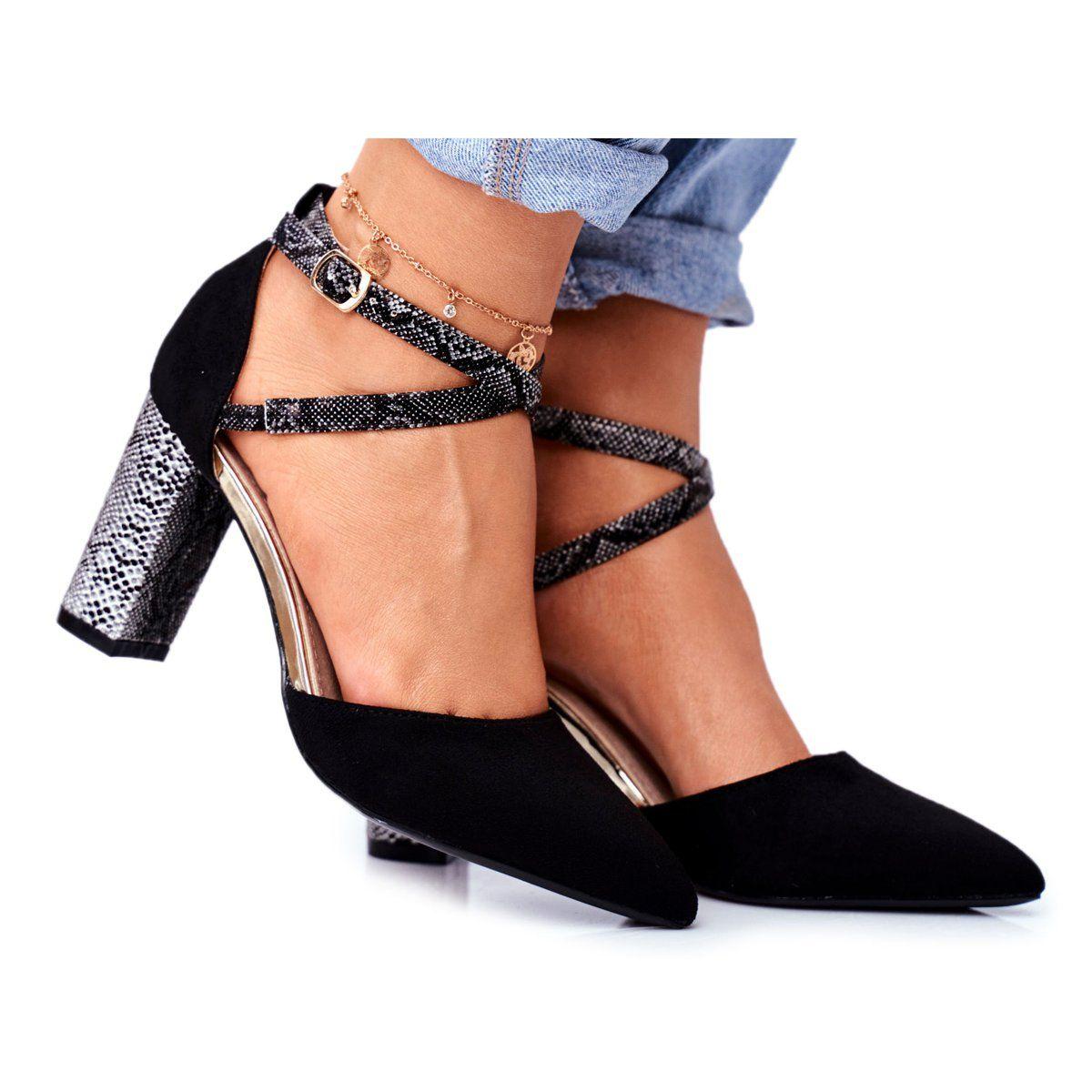 S Barski Czolenka Damskie Na Slupku Wezowe Czarne Together Wielokolorowe Heels Shoes Kitten Heels