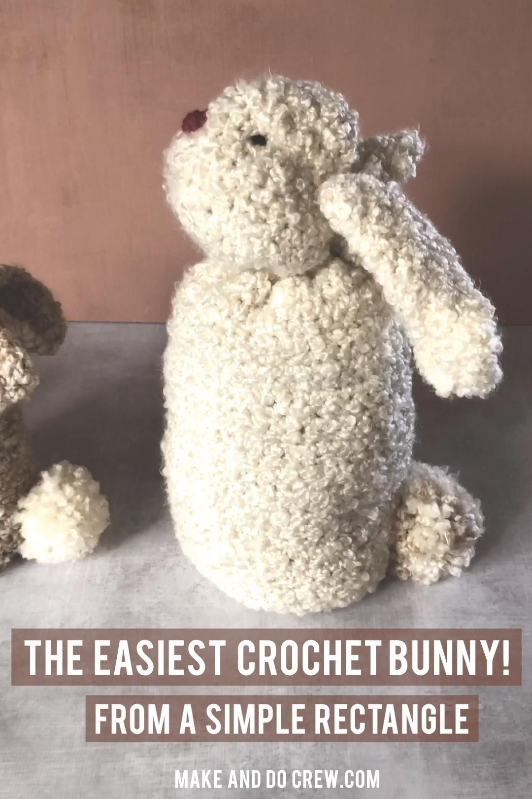 Photo of Easy Stuffed Bunny Made From a Rectangle – Free Crochet Pattern!