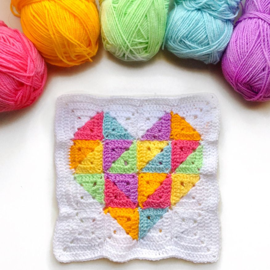 Rainbow Geometric Heart Square