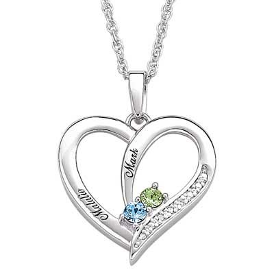 Zales Couples Simulated Birthstone Interlocking Hearts Pendant in Sterling Silver (2 Stones and Names)
