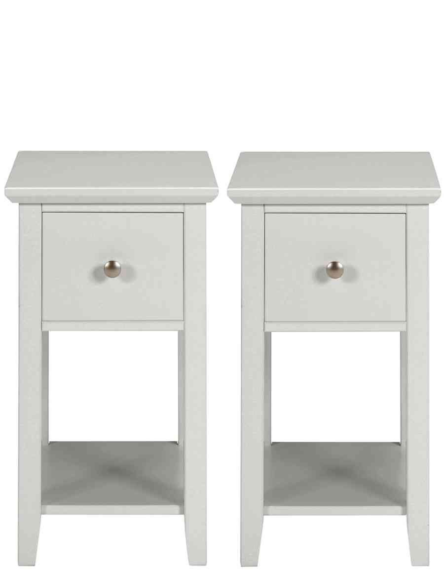 Grey Bedside Tables: Set Of 2 Hastings Grey Compact Bedside Tables