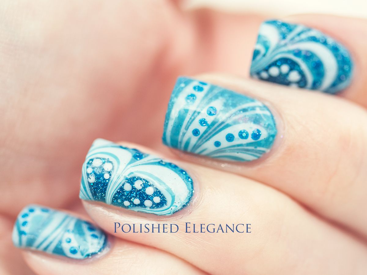 Charming Water Marble Nail Art Patterns With Beautiful Blue White ...