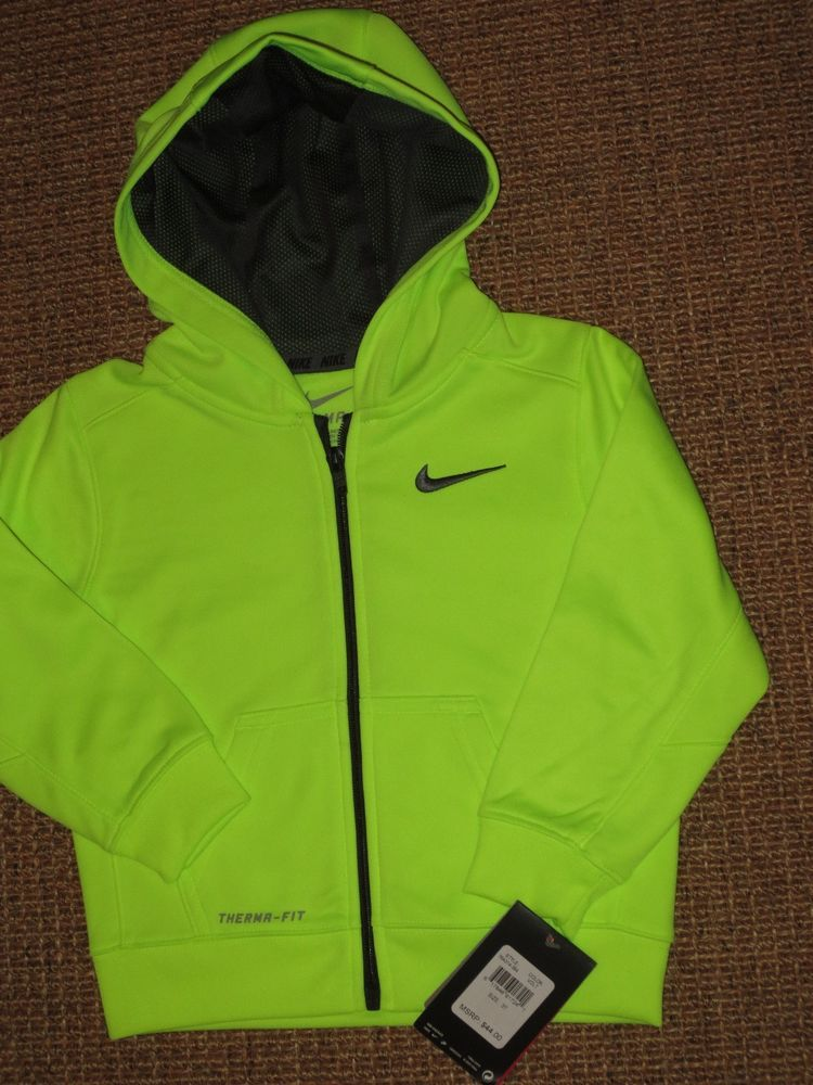 0ac7de851 NEW NIKE THERMA FIT BOY S 3   3T HOODIE ZIPPERED JACKET NEON VOLT ...