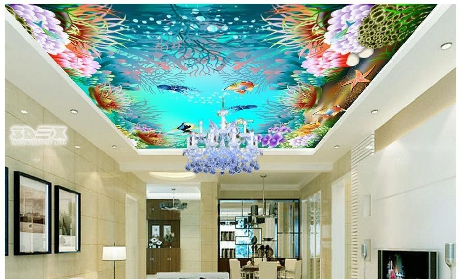 Deep Sea 3d False Ceiling For Sea Food Restaurants False Ceiling Is A Ceiling That Consists Of Two Or More L False Ceiling Design Ceiling Design False Ceiling