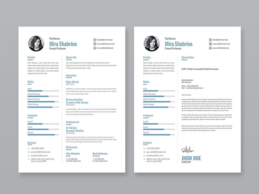 Free Simple Illustrator Resume Template With Images Free
