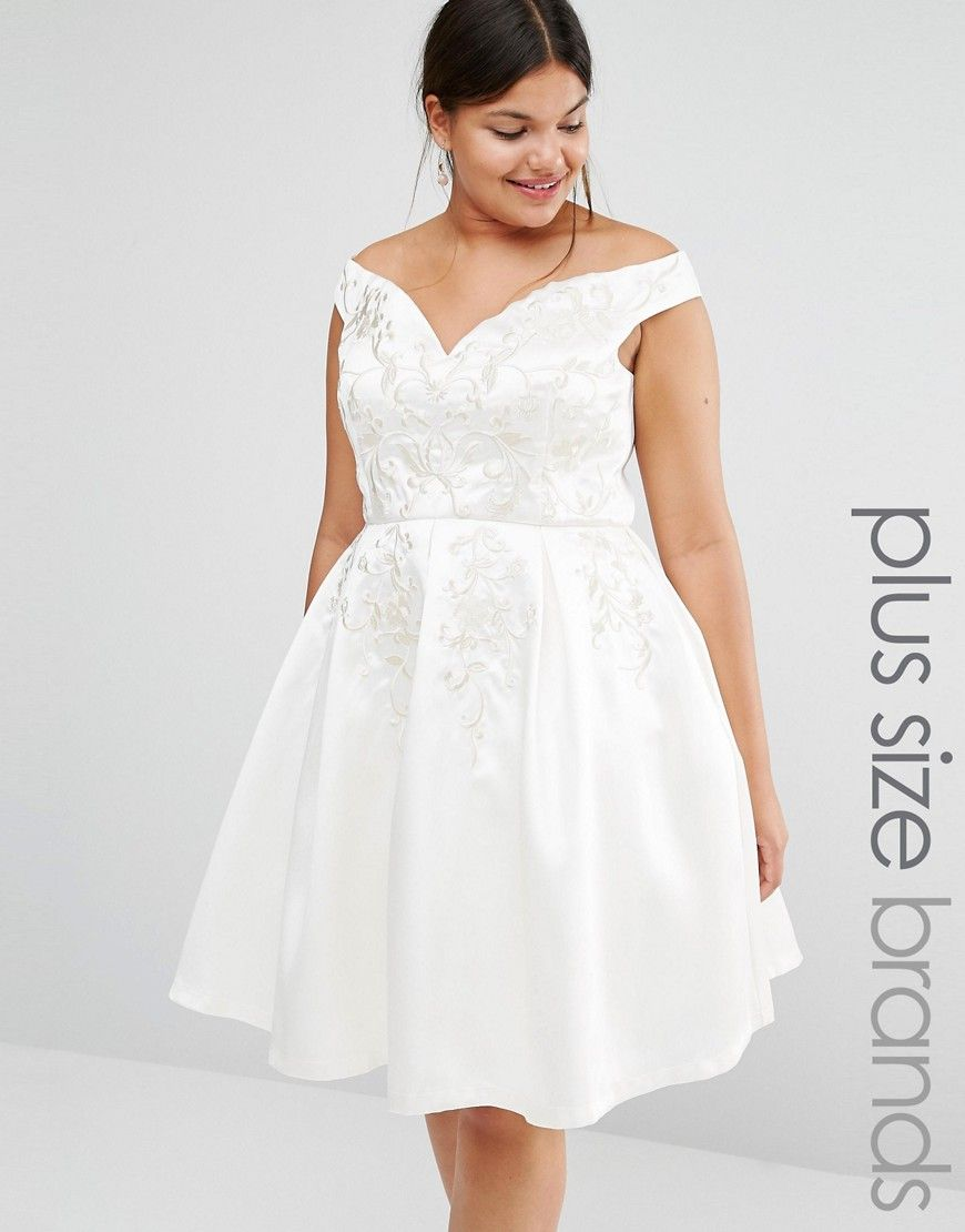 Chi chi london plus off shoulder full prom midi skater dress with