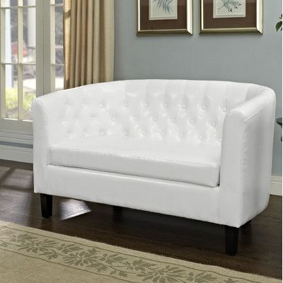 modway furniture prospect twoseater loveseat in white luxurious prospect hints at a classic design before blending with a