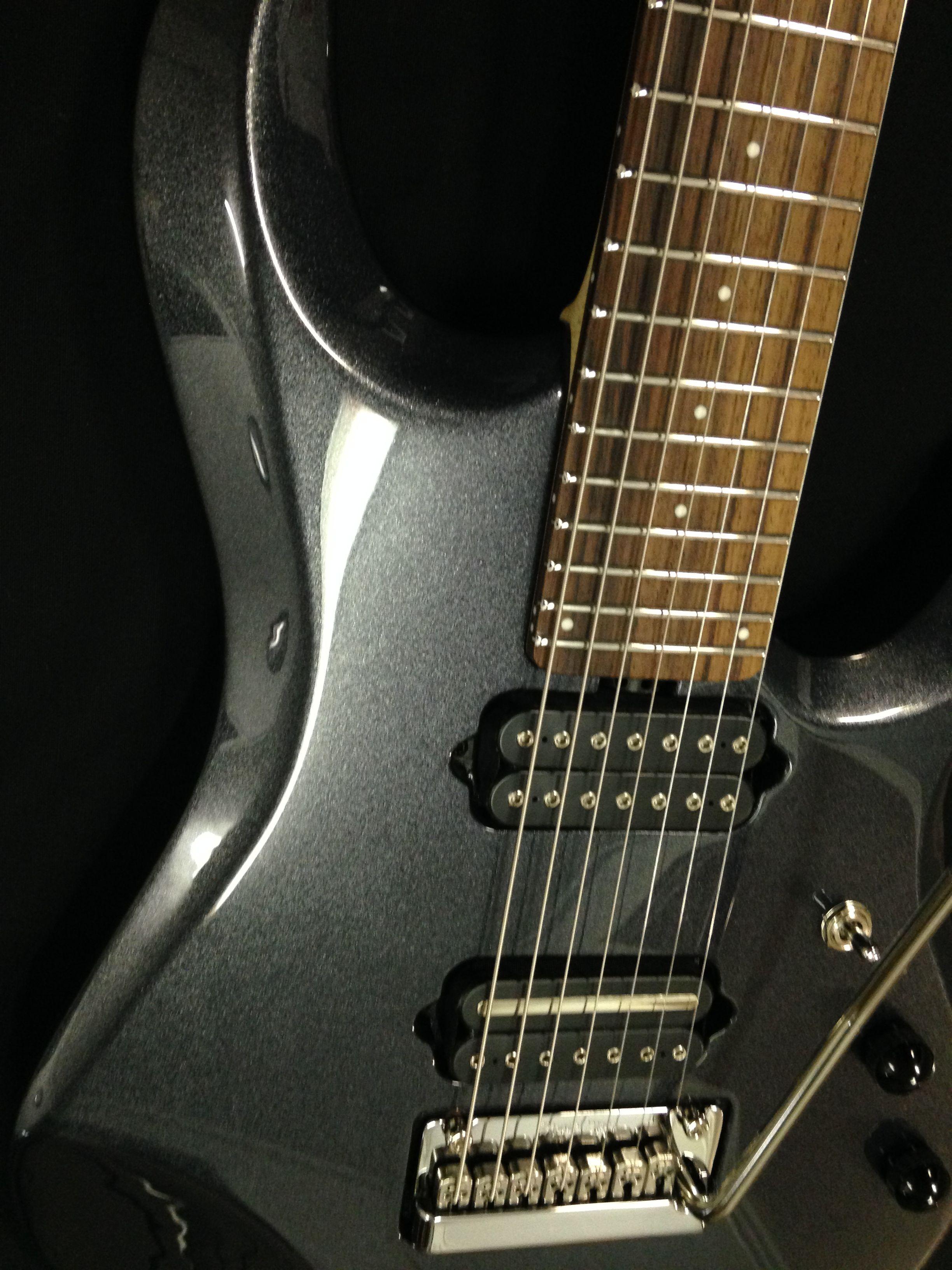 The sleek Music Man JP7 in Sapphire black | Guitar - Music Man ...