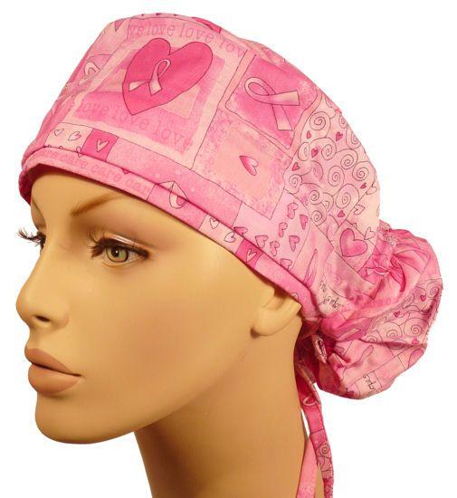 Pink Ribbon Squares Mens And Womens Medical Scrub Cap