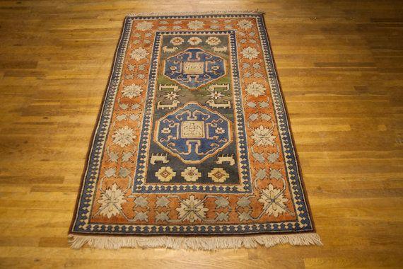 Kazak Patterned Turkish Wool Rug by TheParsonsPleasures on Etsy