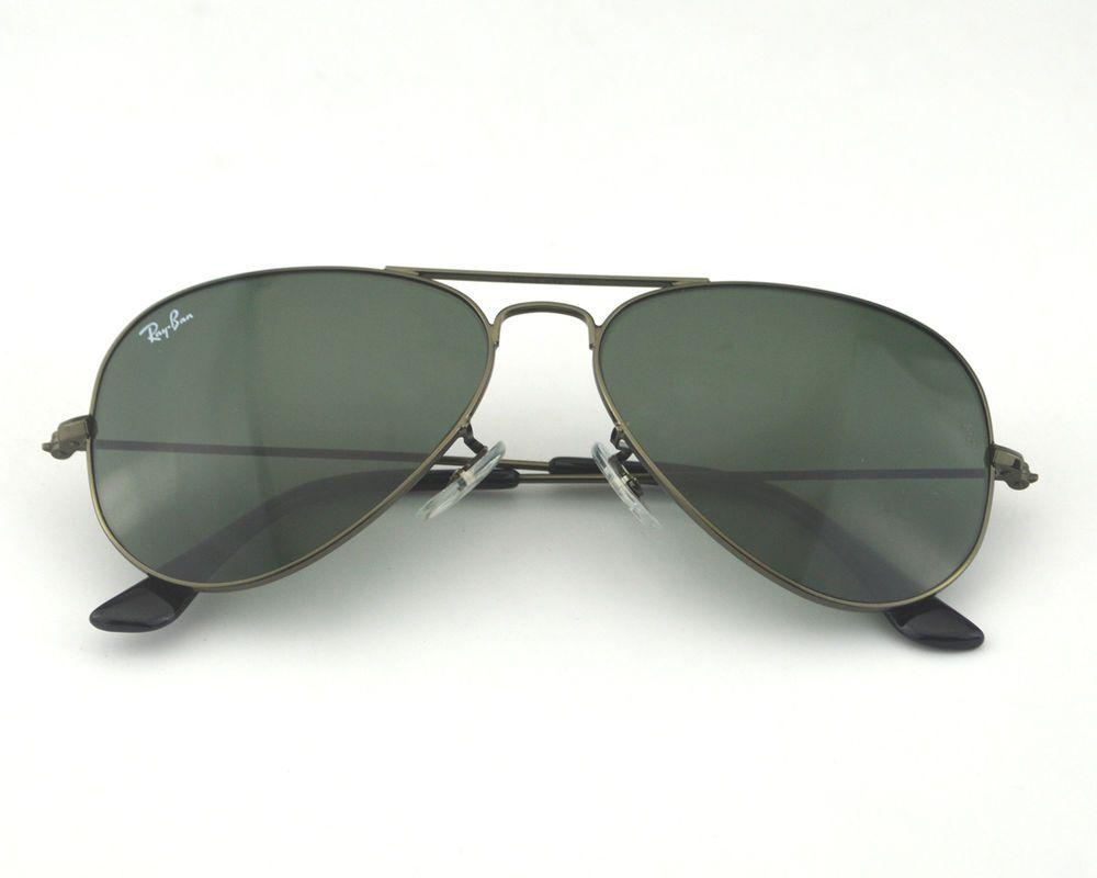 b92d10ff343613 Ray Ban RB3025 Aviator Large Metal W3236 Gunmetal  Green Lens Sunglasses  55mm  RayBan  AviatorLargeMetal