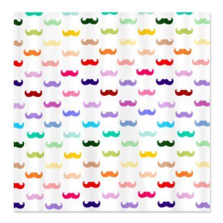 CafePress Rainbow Mustache Shower Curtain - Standard White