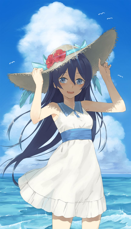 anime girl, , black hair, , blue eyes, , long hair, , wind, , cute