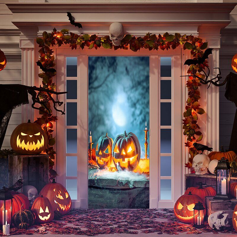 Scary Halloween Pumpkins Door Mural in 2020 Halloween