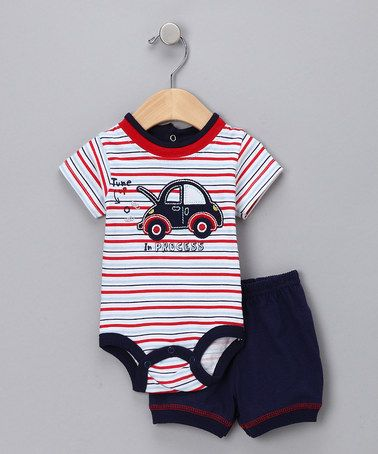 Take a look at this Red & Navy 'In Process' Bodysuit & Shorts - Infant by Blow-Out on #zulily today!