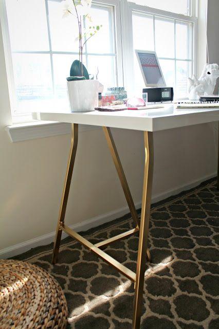 Ikea Hack Trestle Desk W White Laquer Spray Paint Legs A Gold For Office Design Ikea Desk Hack Ikea Desk Kantoor Aan Huis Decor