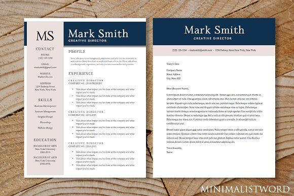2 Pack Resume Cover Letter Template by MinimalistWord on