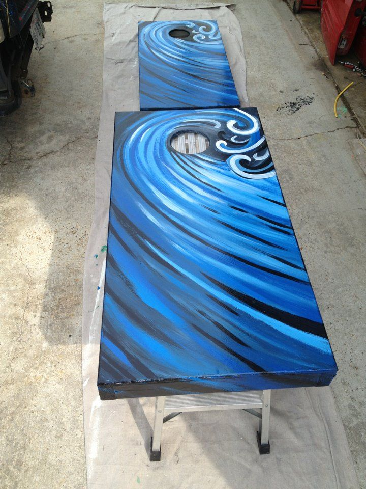 completed wave design from my pinterest board of cornhole board ideas - Cornhole Design Ideas