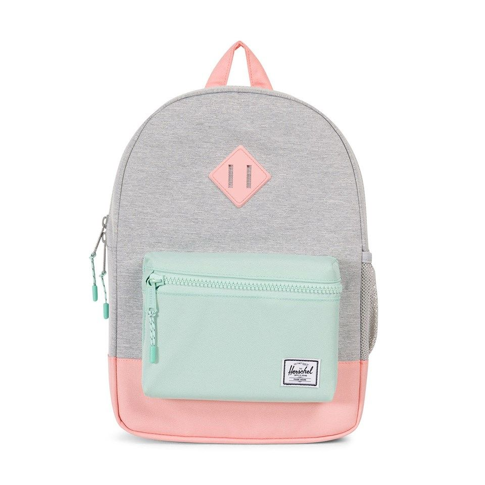 570bad44a84 Herschel Supply Co Light Grey Crosshatch and Peach Heritage Kids Backpack
