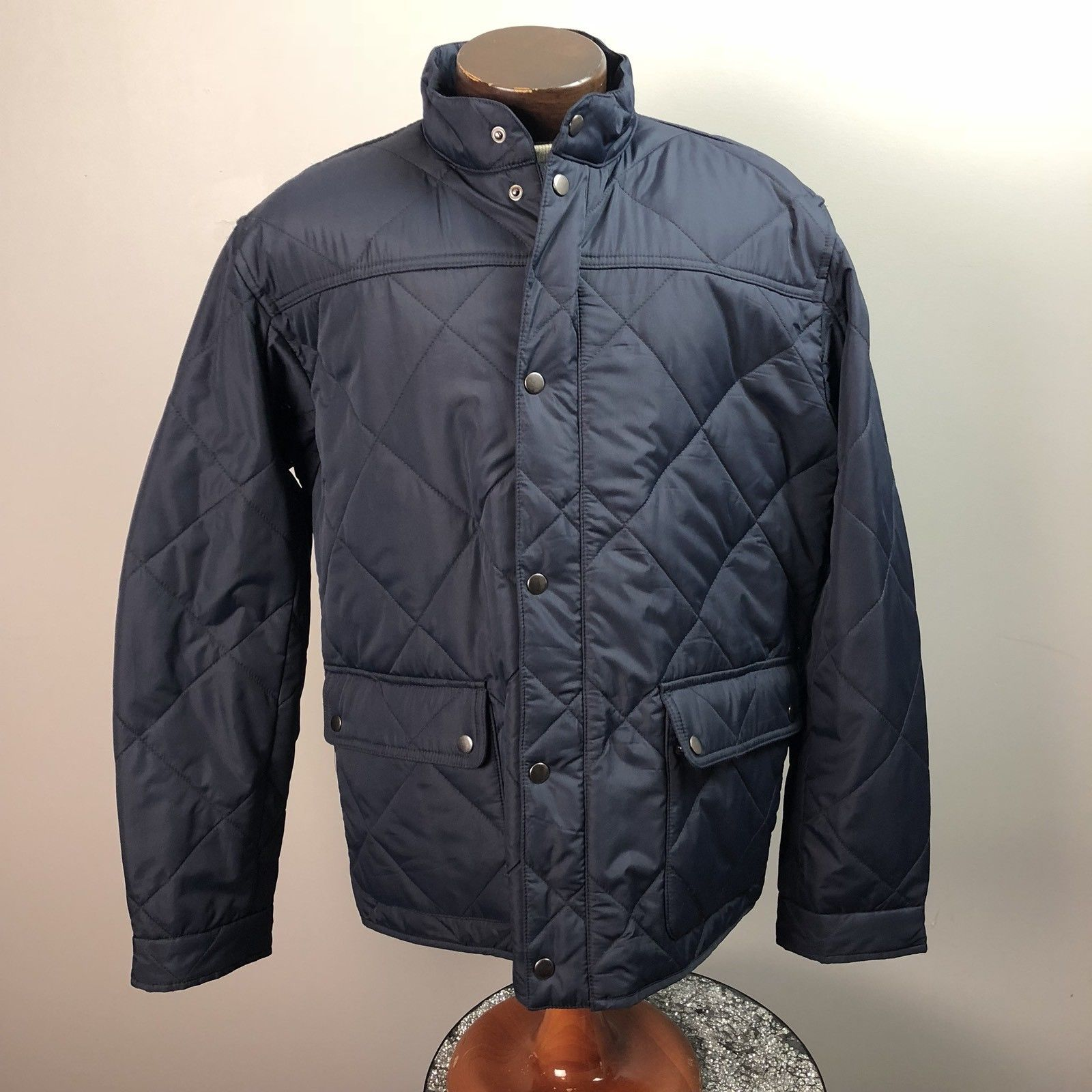 69 00 J Crew Coat Mens Blue Quilted Mid Length Size Xl Winter Coat  E2 9d A4 Crew Coat Mens Blue Quilted Length Size Winter Travel Week Warehouse