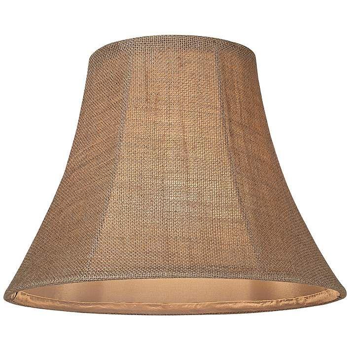 Natural Burlap Medium Bell Lamp Shade 7x14x11 (Spider) - #U0928   Lamps Plus