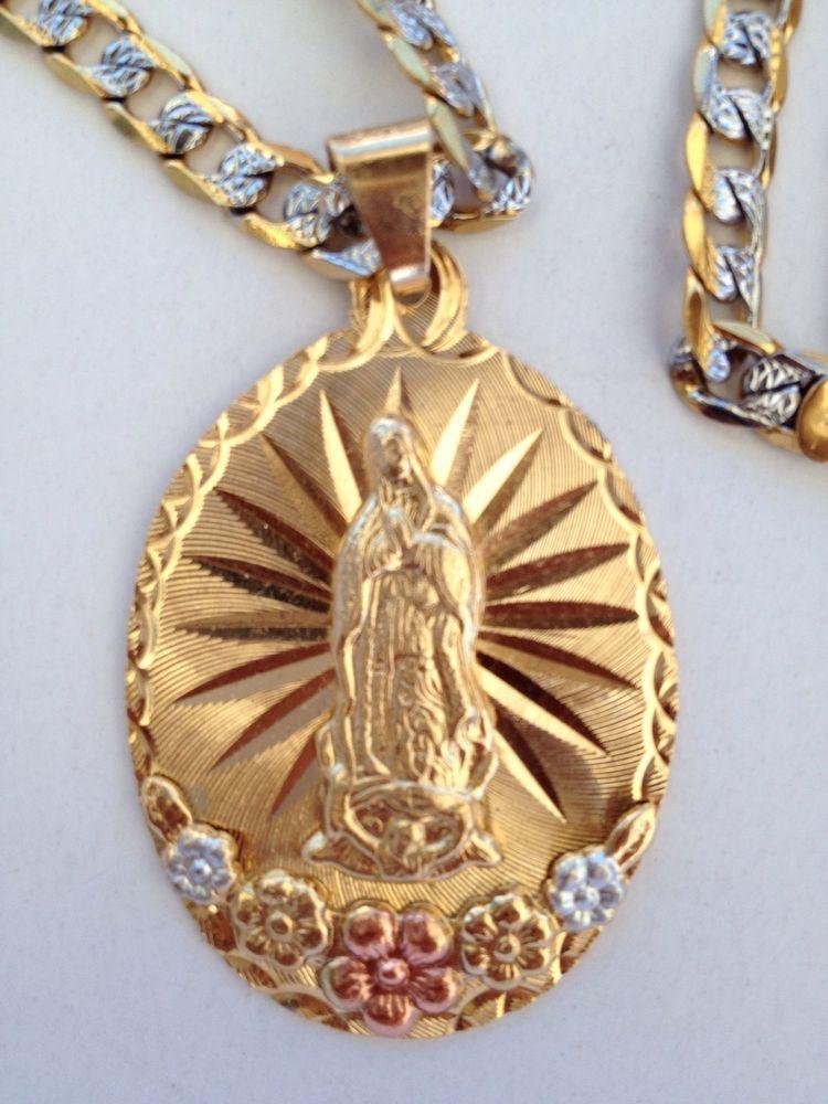 eb65c6474878 Virgen De Guadalupe Con Cadena O Rosario De Oro Laminado 14k ...