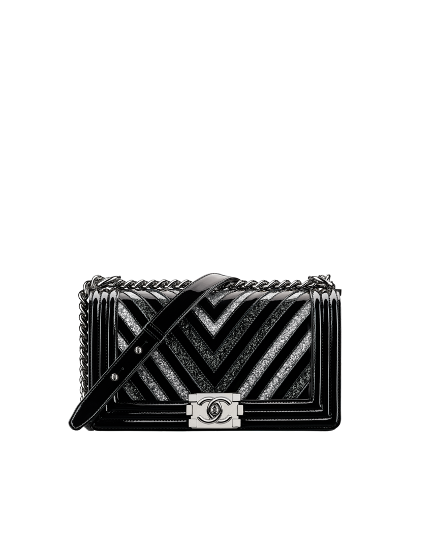 A67086 Y82694 C0790 Price 6 275 Boy Chanel Handbag Glittered Pvc Patent Calfskin Silver Tone Metal Black