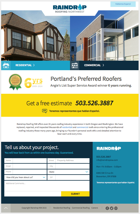 Raindrop Roofing Web Layout