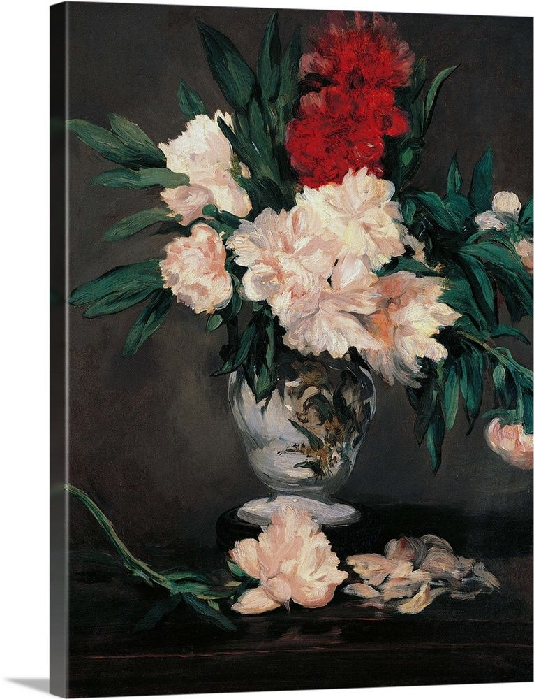 Vase With Peonies On A Pedestal By Edouard Manet 1864 Musee D Orsay Paris France Painting Hand Painting Art Painting Frames