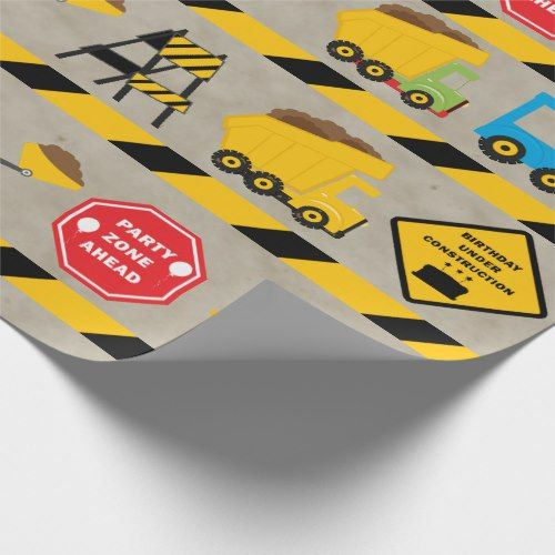 boys construction birthday wrapping paper truck themed birthday