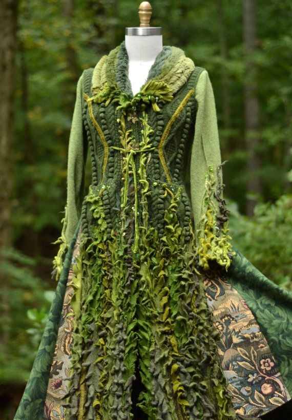 Reserved Sweater Coat Patchwork Bohemian Fantasy Green