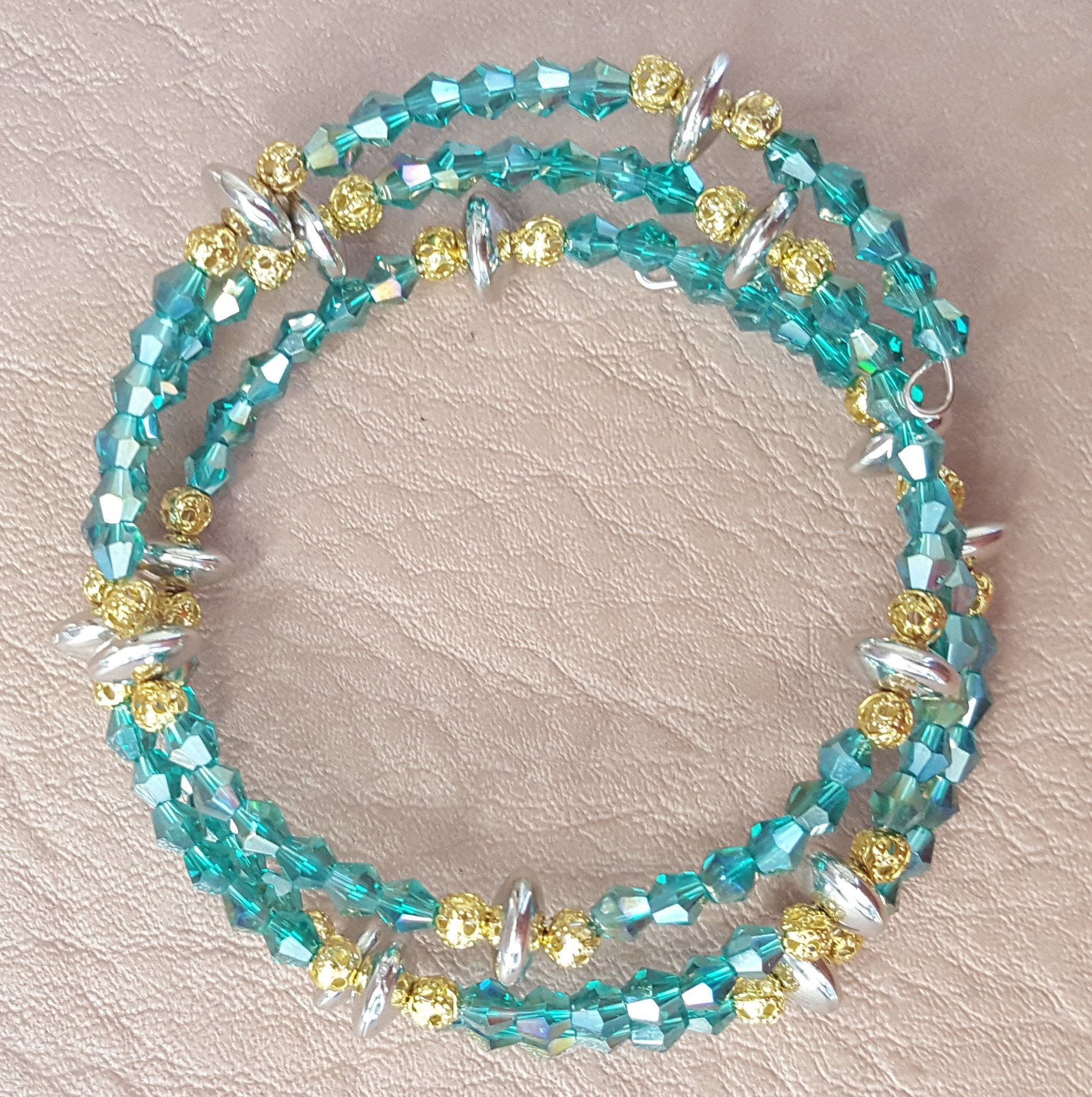 Turquoise, Silver and Gold Memory Wire Stainless Steel Bracelet by KalaaStudio on Etsy