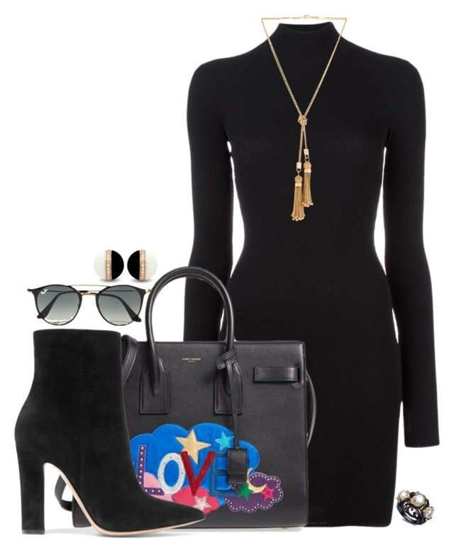 """""""Untitled #1669"""" by alexross ❤ liked on Polyvore featuring adidas Originals, Yves Saint Laurent, Gianvito Rossi, Ray-Ban and Chloé"""