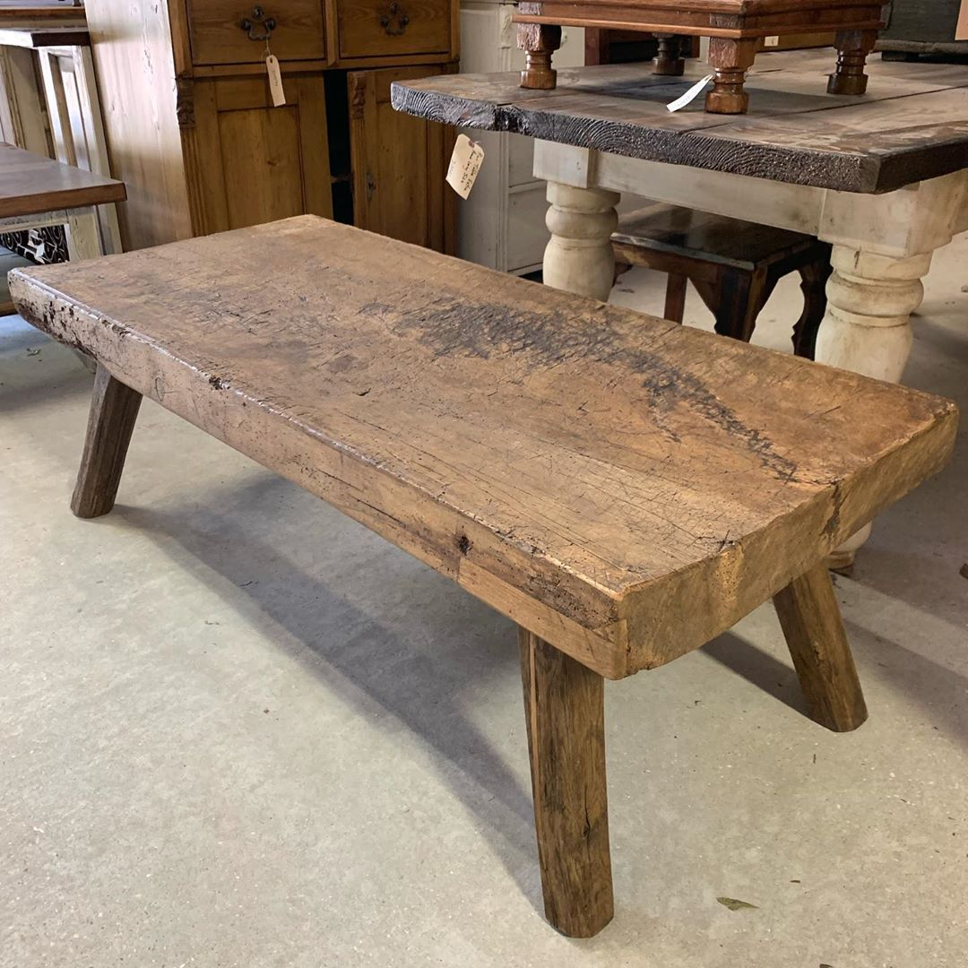 Charles Phillips Antiques On Instagram Antique Butcher Block Slab Turned Coffee Table 27 X 60 X 20 Tall Th Butcher Block Dining Table Table Dining Table