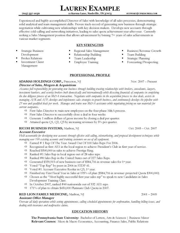 resume sample canada professional profile sales manager create - resume samples for sales manager