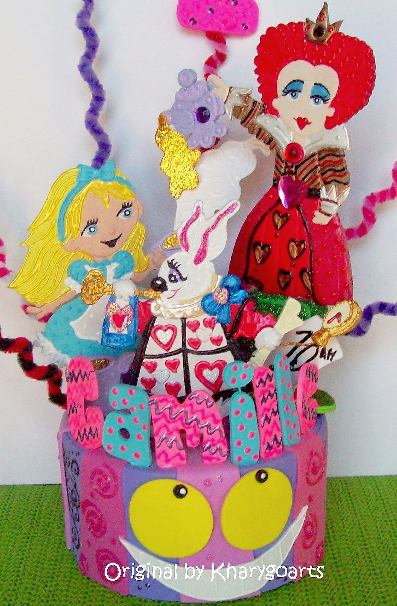 Alice in Wonderland birthday cake topper original from www.kharygoart.com