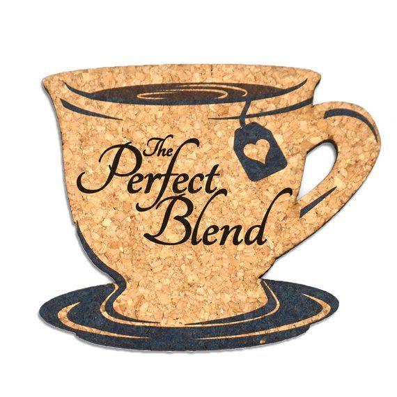 "Wedding Cork Coaster: Wedding Favor Coasters, ""The Perfect Blend"" Tea Cup Cork"