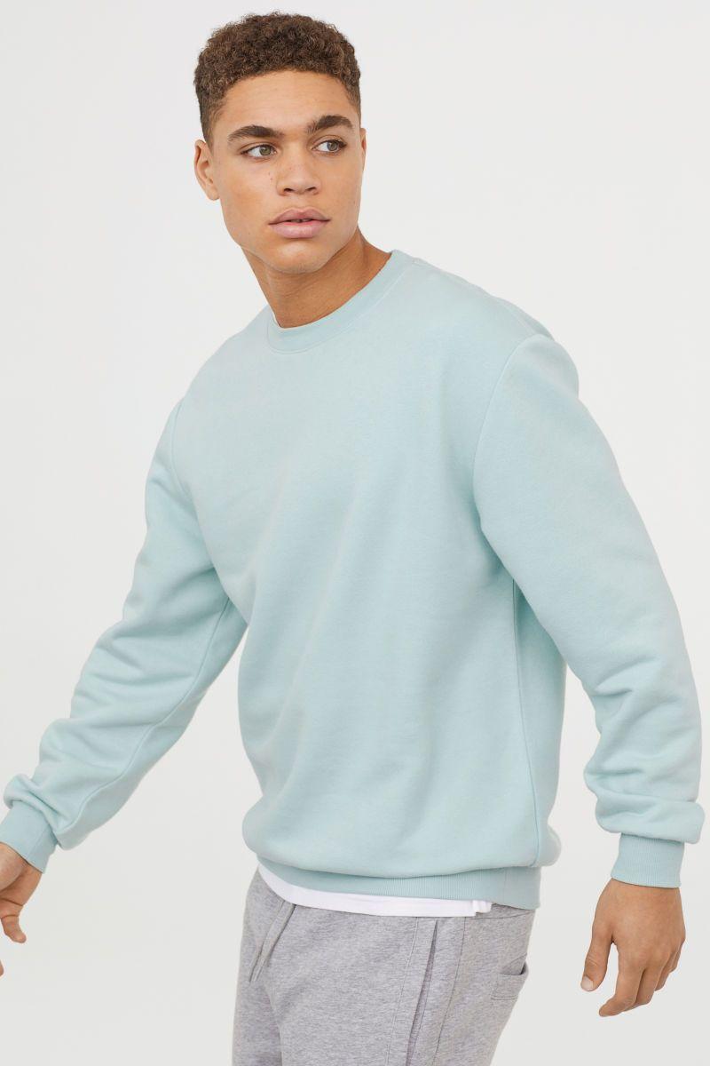 Relaxed Fit Sweatshirt Mint Green Men H M Us Polo Shirt Style Long Sleeve Tshirt Men Oversized Sweatshirt [ 1200 x 800 Pixel ]