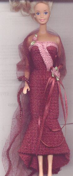 50s Swinging Evening Gown For Barbie Free Crochet Clothes Pattern
