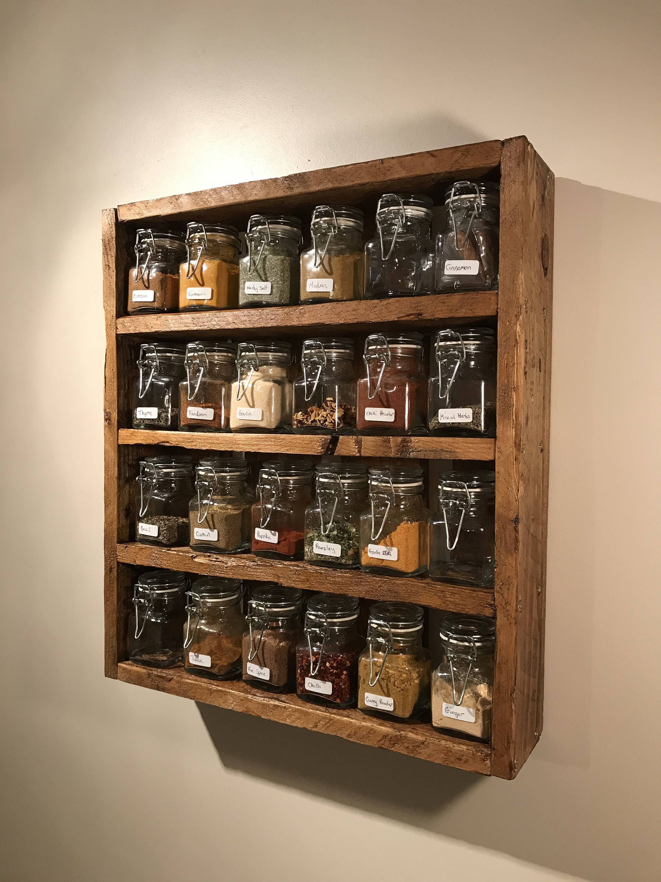 Rustic Spice Rack Includes Jars Reclaimed Pallet Wood Handmade Kitchen Storage By Diyprojectsshop On Diy Kitchen Storage Diy Storage Rack Handmade Kitchens