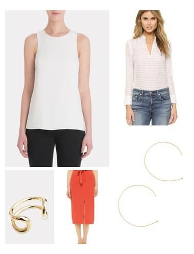 This coral skirt adds a bright pop to your Spring wardrobe. Style it with a white blouse and luxe gold & tan accents for a minimal, but chic look.