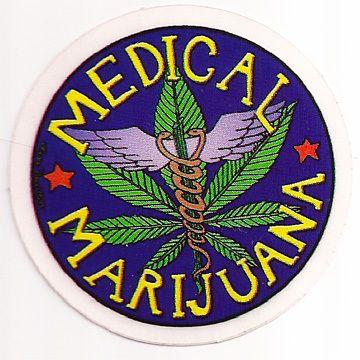 Colorful medical marijuana sticker cannabis pot leaf