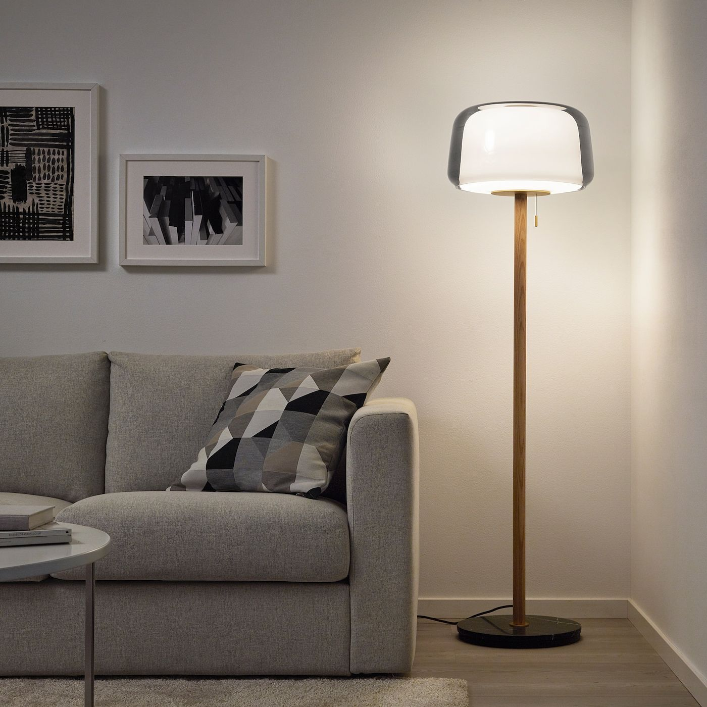 Evedal Floor Lamp Marble Gray Ikea