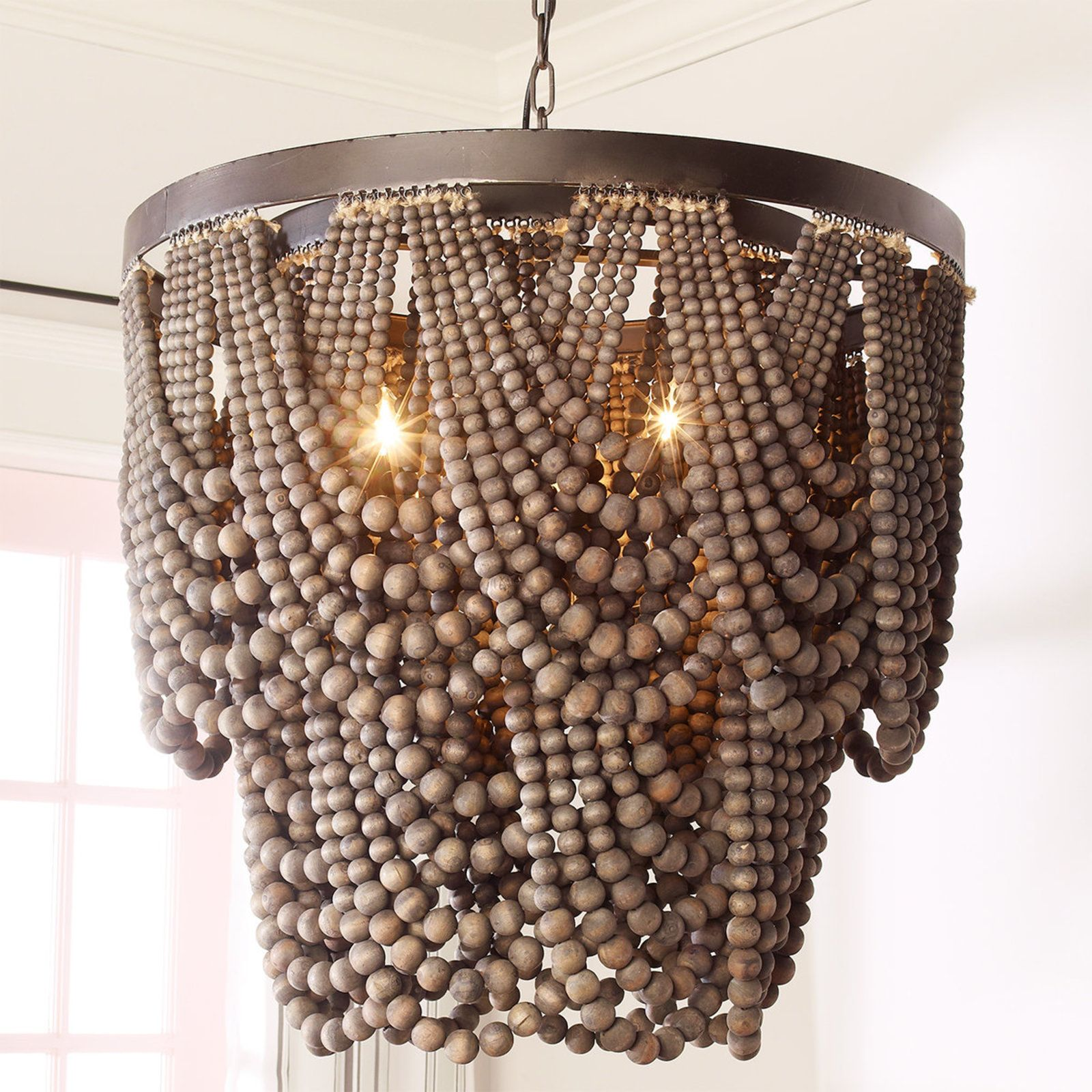Bohemia Draped Bead Chandelier Beaded Chandelier Wood Bead Chandelier Diy Chandelier