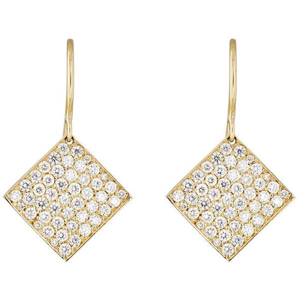 Irene Neuwirth Diamond Collection Women's Pave Diamond Square-Drop Ear ($7,220) ❤ liked on Polyvore featuring jewelry, earrings, colorless, 18k jewelry, clear crystal drop earrings, 18k earrings, pave diamond drop earrings and irene neuwirth earrings