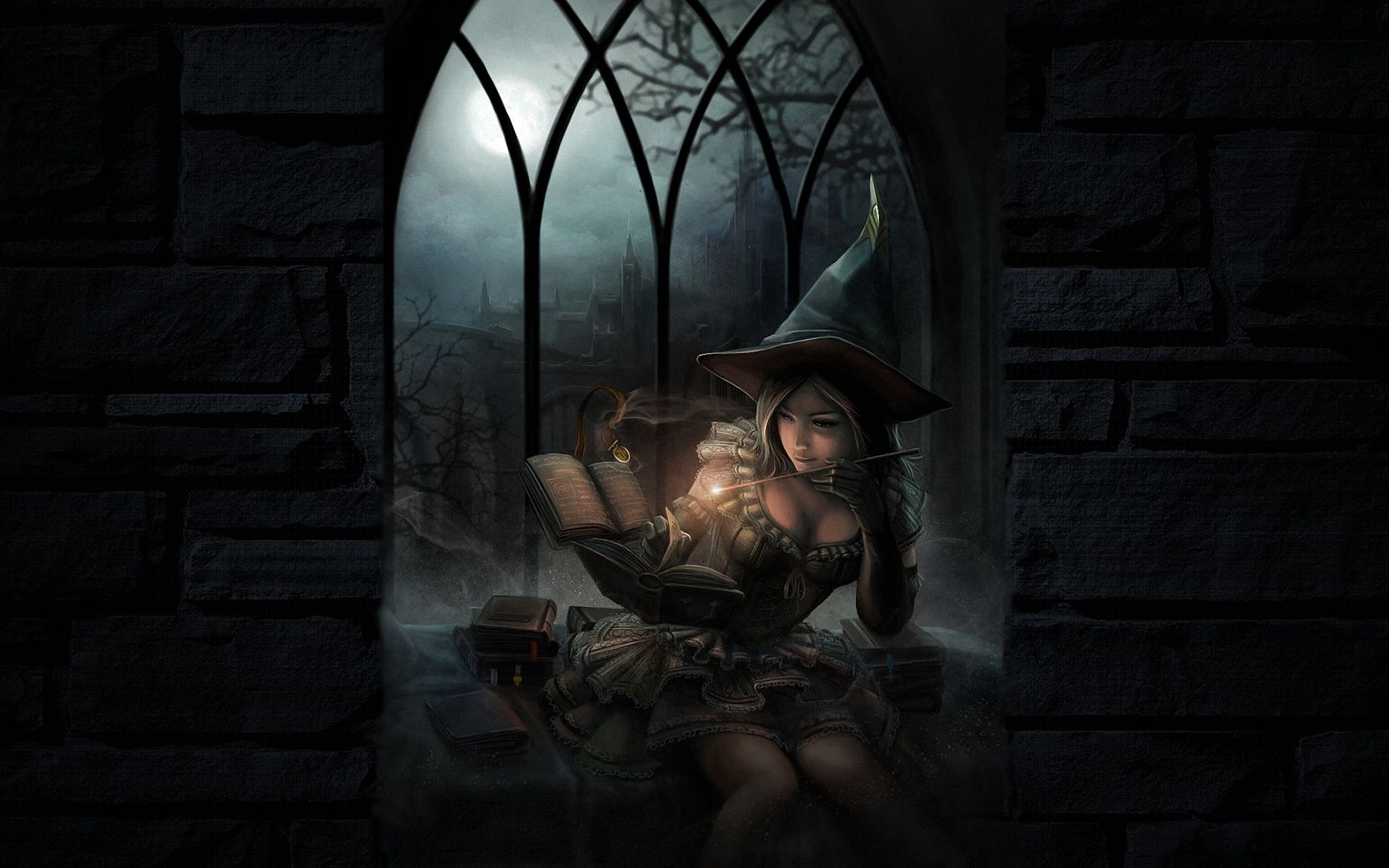 Fantasy Halloween Girl Dark Wallpaper HD Wiccan