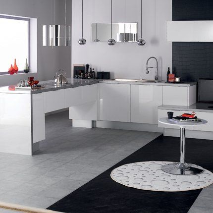 cuisine eslv en mlamine laqu blanc hygena - Cuisine Laquee Blanche Ikea