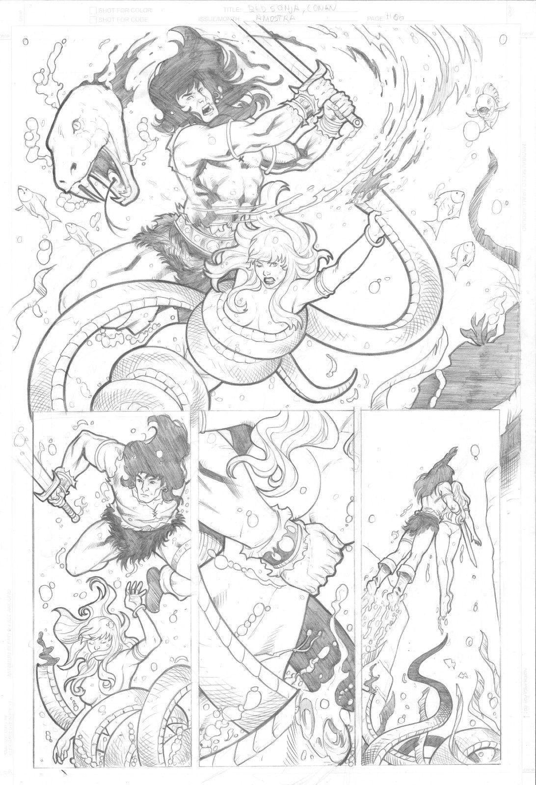 RED SONJA & CONAN TEST PAGE 06 - BEAUTIFUL ORIGINAL COMIC PAGE BY ED SILVA